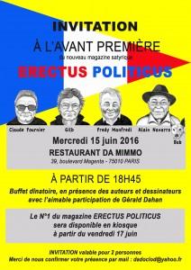 Invitation à l'avant-première pour la sortie du magazine satyrique Erectus Politicus